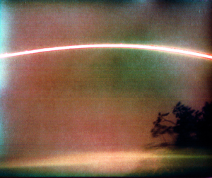 Pinhole photograph of the sun's path across the sky on July 30, 2013.