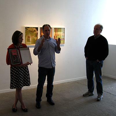 Becky Senf, Paul Kopeikin and W.m. Hunt discussing Alejandro Cartagena's book, Carpoolers.